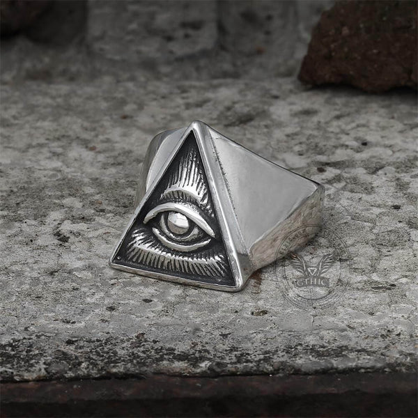 All-seeing Eye Stainless Steel Masonic Ring | Gthic.com