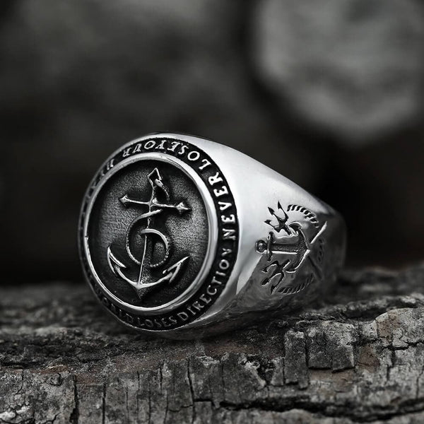 Anchor And Compass Stainless Steel Marine Ring