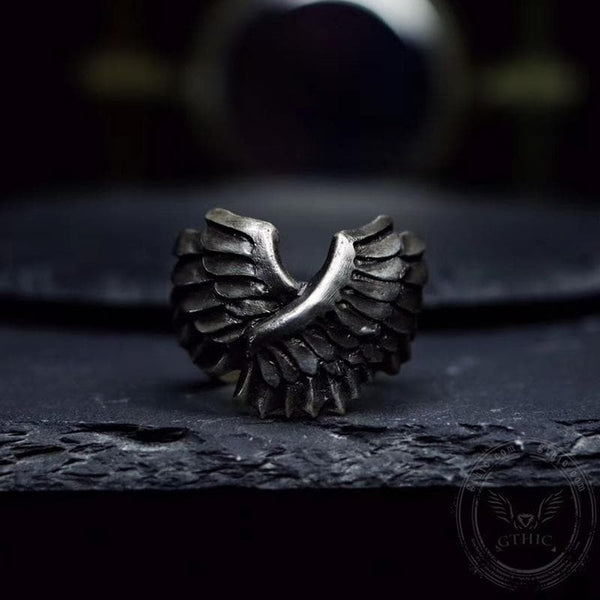 Angel Wing Brass Sterling Silver Beast Ring