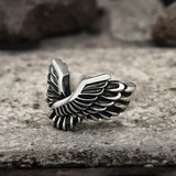 Angel Wing Stainless Steel Beast Ring