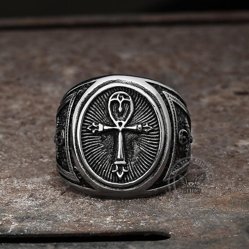 Ankh Key of Life Stainless Steel Egyptian Ring