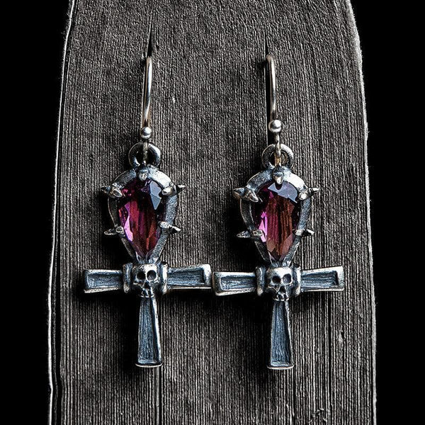 Ankh Sterling Silver Skull Earrings