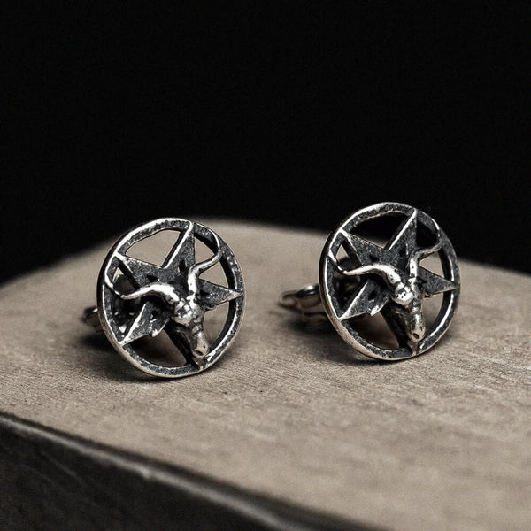 Baphomet Sterling Silver Satan Stud Earrings