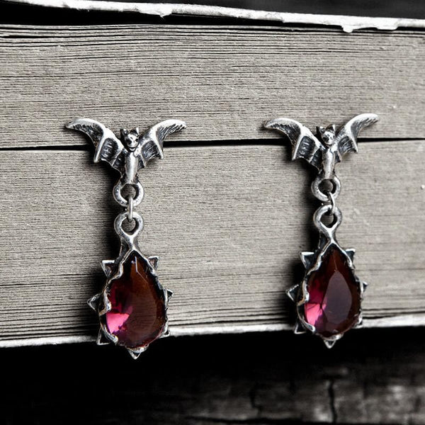 Bat Sterling Silver Crystal Earrings