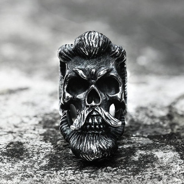 Bearded Gentleman Stainless Steel Skull Ring