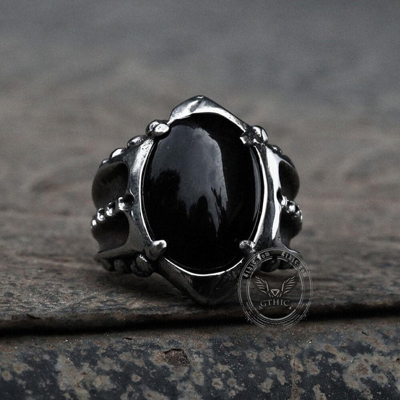 Black Agate Stainless Steel Punk Gothic Ring