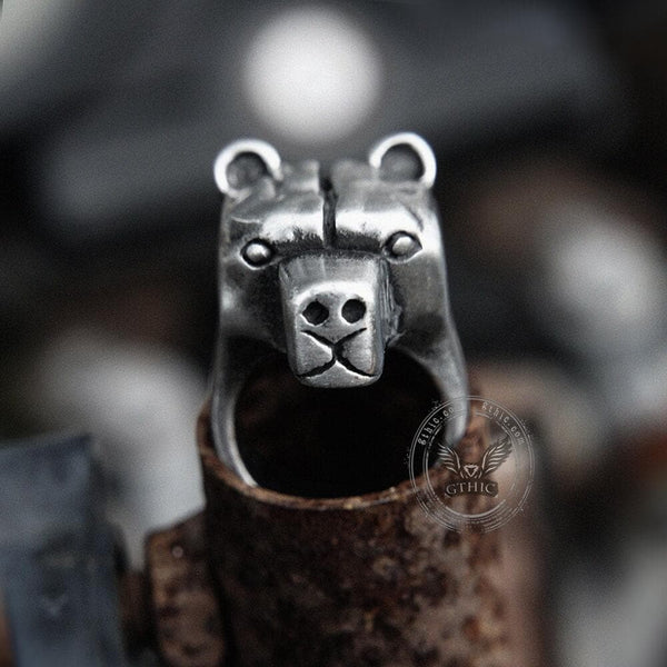 Black Bear Stainless Steel Animal Ring