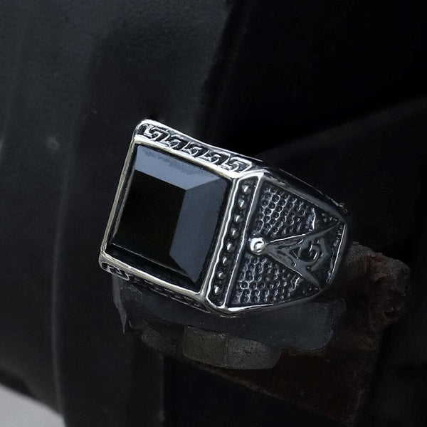 Black Gemstone Stainless Steel Masonic Ring