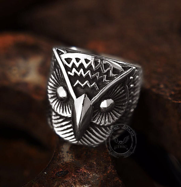 Carved Owl Stainless Steel Animal Ring