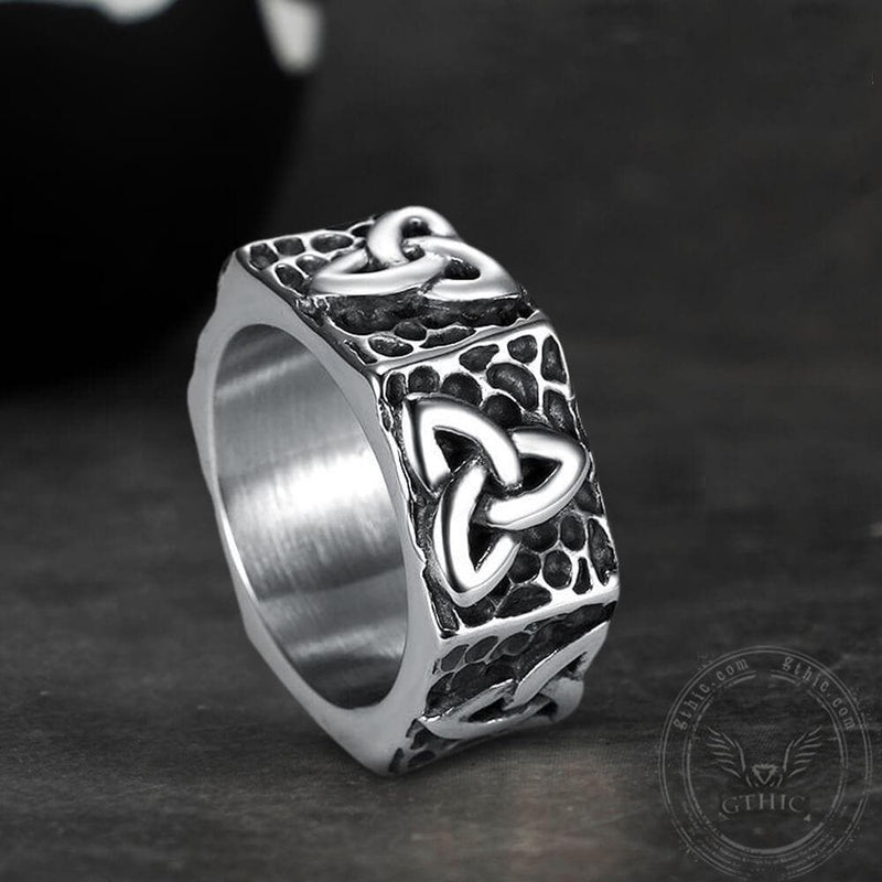 Celtic Knots Hexagon Stainless Steel Viking Ring