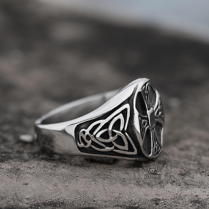 Celtics Knot Cross Stainless Steel Viking Ring | Gthic.com