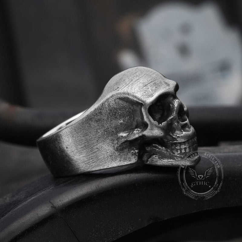 Classic Locomotive Stainless Steel Skull Ring