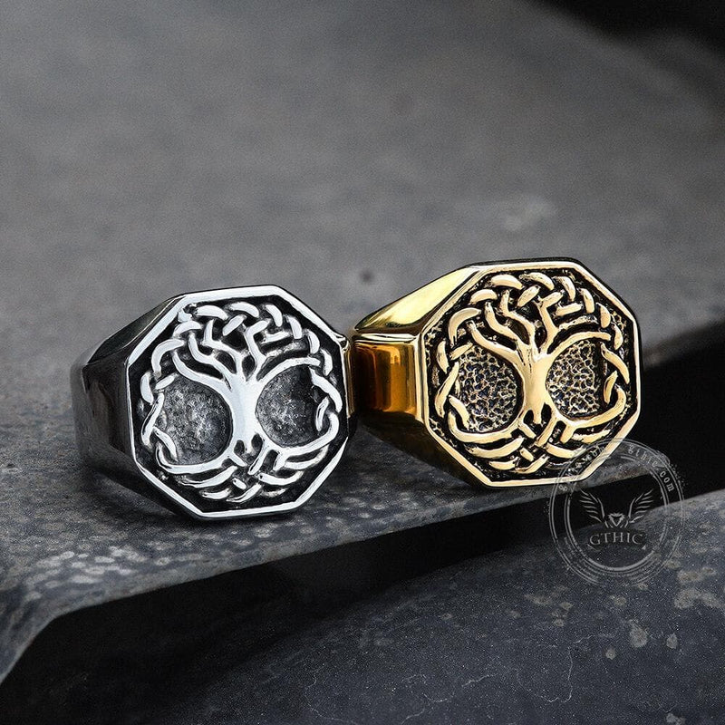 Classic Tree of Life Stainless Steel Viking Ring