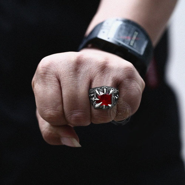 Cool Dragon Claw Stainless Steel CZ Ring