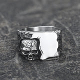 Corner Skull Stainless Steel Ring
