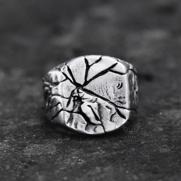 Cracked Stone Texture Stainless Steel Ring