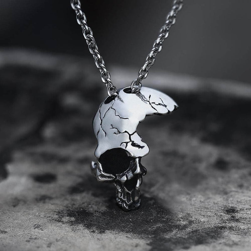 Damaged Half Face Skull Pendant