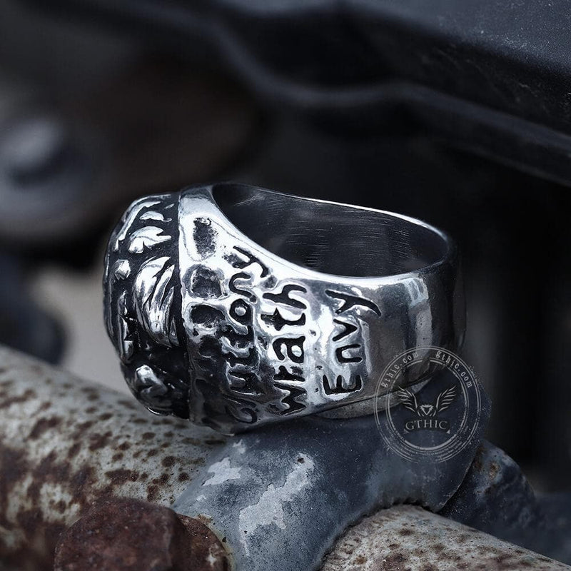 Seven Deadly Sins Stainless Steel Brain Ring