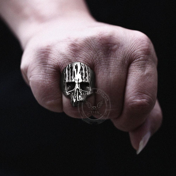 Decay Dead Wood Stainless Steel Skull Ring
