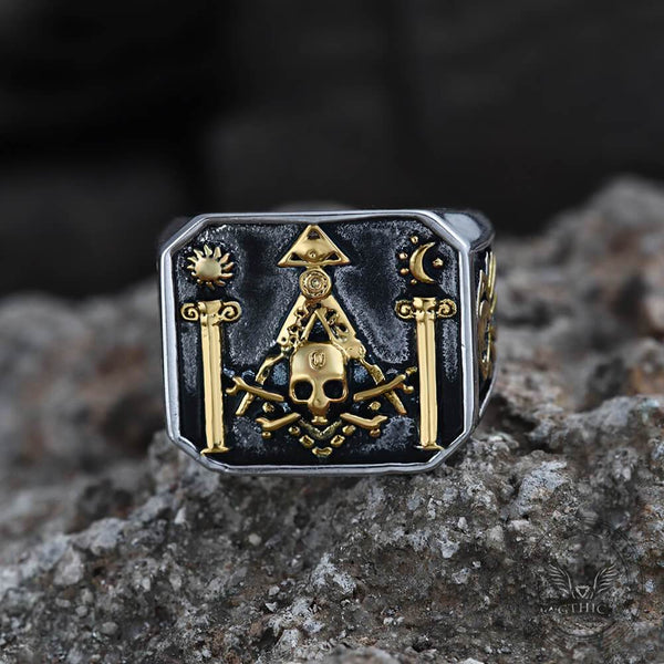 Detailed Stainless Steel Masonic Skull Ring