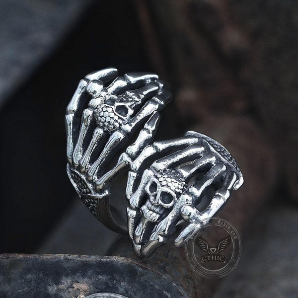 Double Ghost Hand Stainless Steel Skull Ring