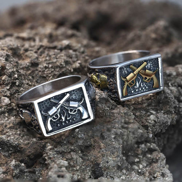 Double Guns Stainless Steel Ring | Gthic.com