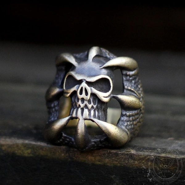Dragon Claw Brass Sterling Silver Skull Ring