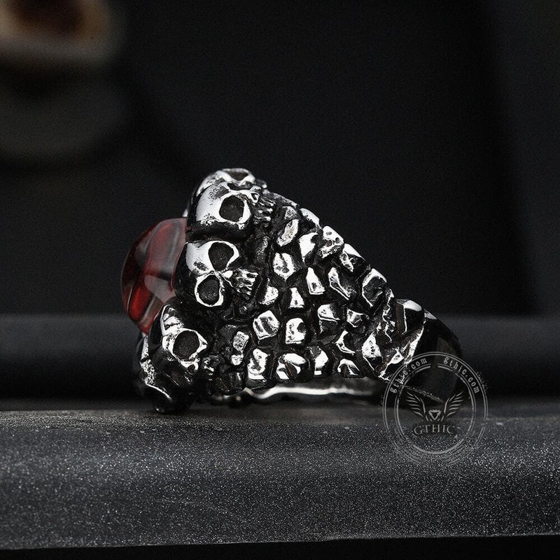 Dragon Eye Stainless Steel Skull Ring