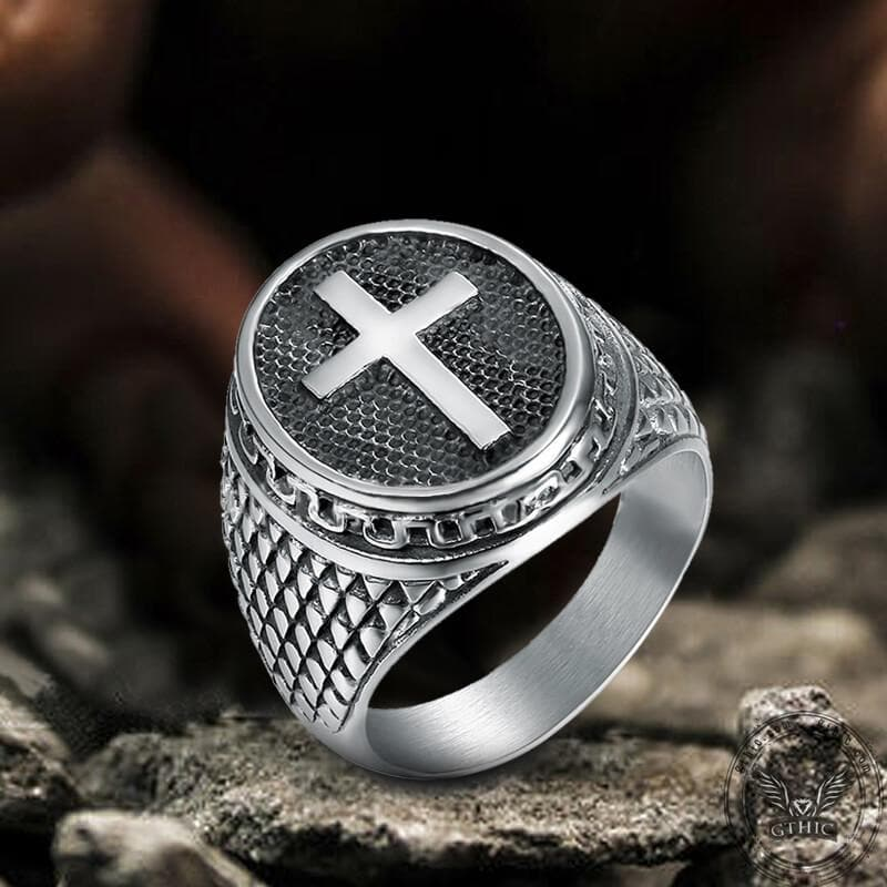 Dragon Scale Pattern Sterling Silver Cross Ring
