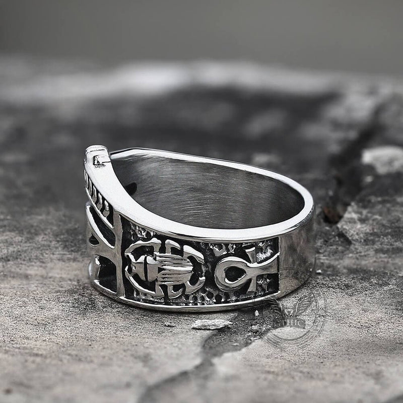 Egyptian Eye of Horus Ankh Stainless Steel Egypt Ring