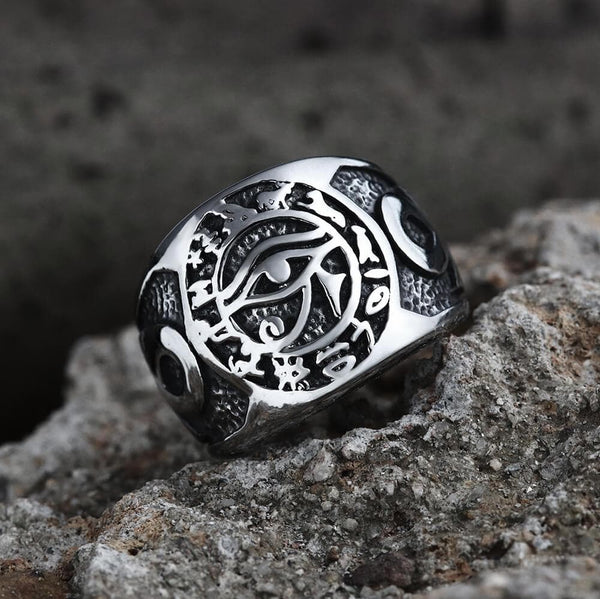 Eye of Ra Ankh Cross Stainless Steel Egypt Ring