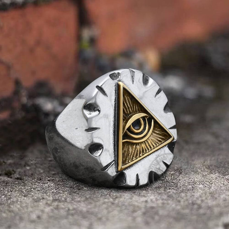Eye Of Providence Stainless Steel Masonic Ring | Gthic.com