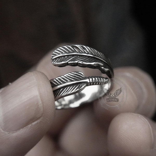 Feather Stainless Steel Ring
