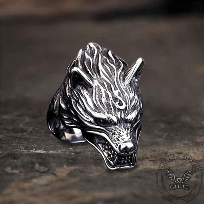 Fierce Wolf Stainless Steel Animal Ring