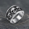 Five Skulls Stainless Steel Ring