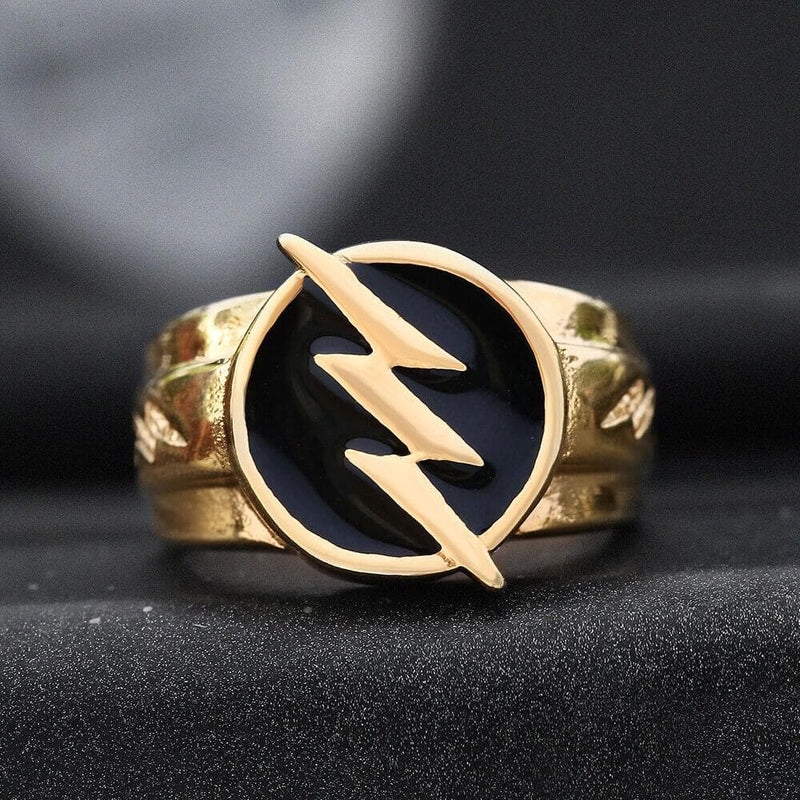 Gold Lightning Stainless Steel Ring