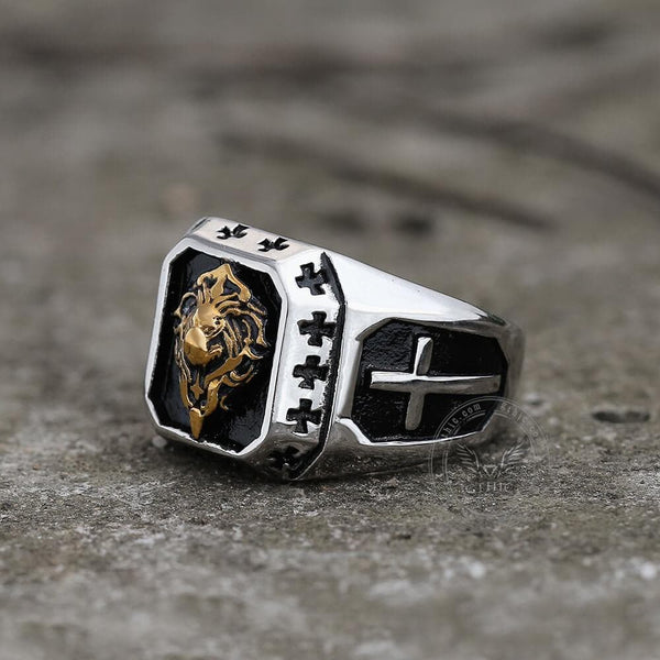 Golden Lion Stainless Steel Beast Ring