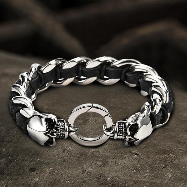 Double Head Skull Buckle Stainless Steel Braided Bracelet