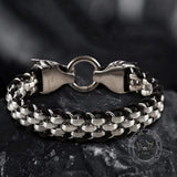 Double Wolf Head Buckle Stainless Steel Braided Bracelet