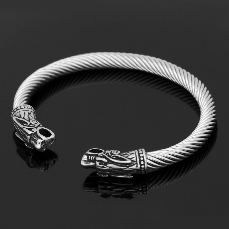 Fiery Dragons Stainless Steel Beast Viking Bracelet