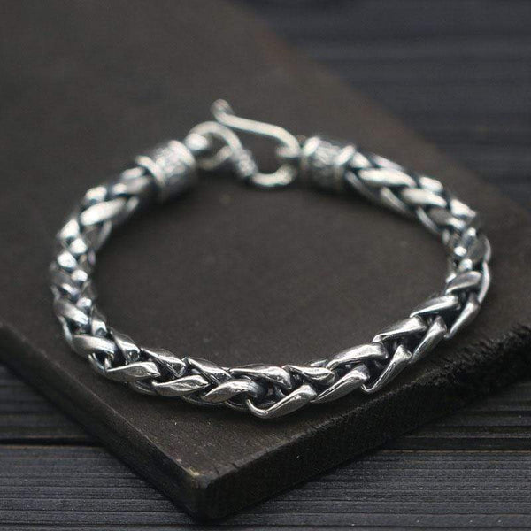 Classic Wheat Ear Chain 925 Silver Bracelet