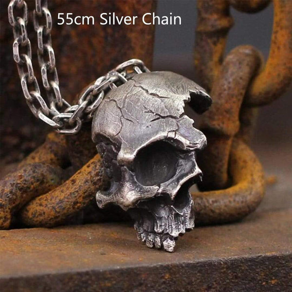 Damaged Half Face Sterling Silver Brass Skull Pendant