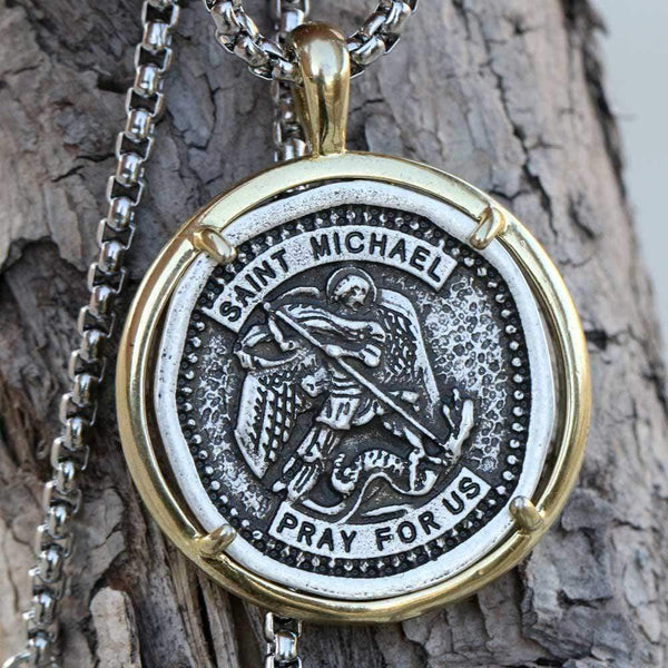Archangel Saint Michael Stainless Steel Coin Necklace