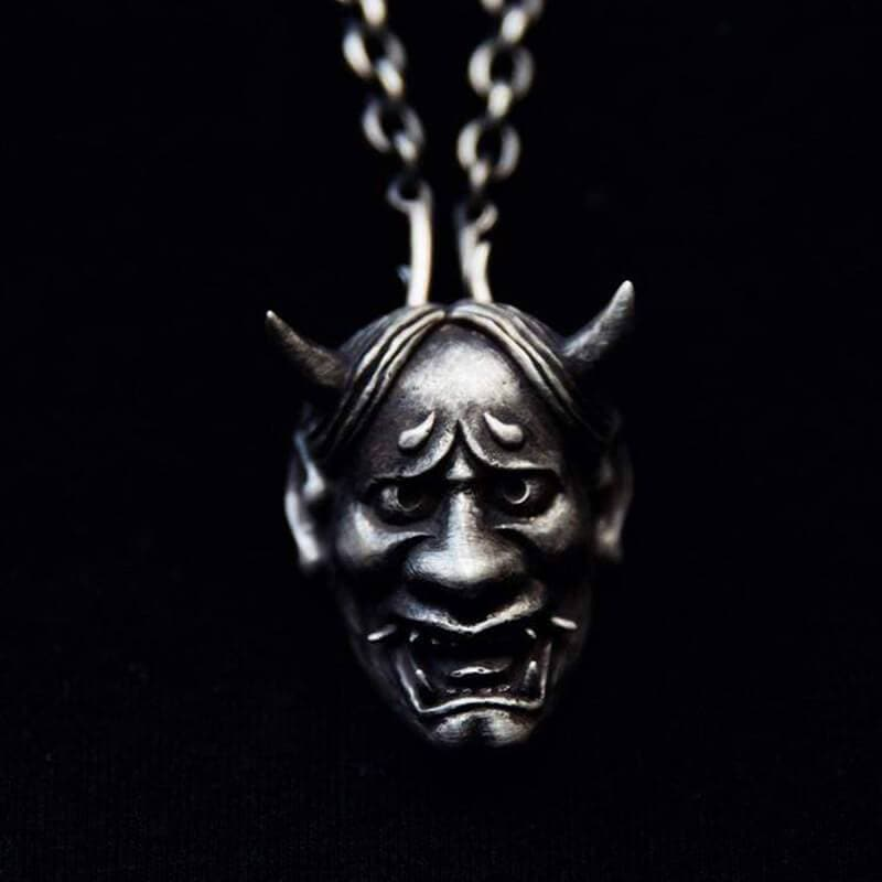 Japanese Demon Sterling Silver Skull Pendant
