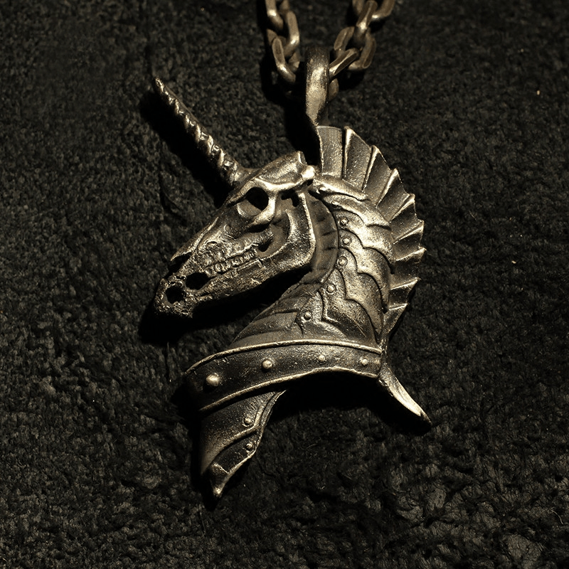 Unicorn Holy Beast Sterling Silver Brass Pendant