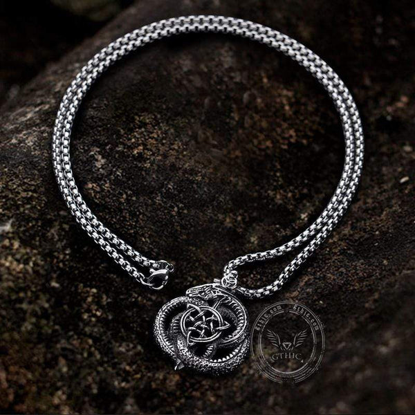 Celtics Triquetra Dragon Stainless Steel Viking Pendant
