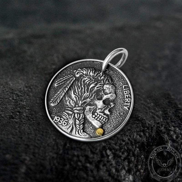Indian Chief Lotus Koi Sterling Silver Coin Pendant