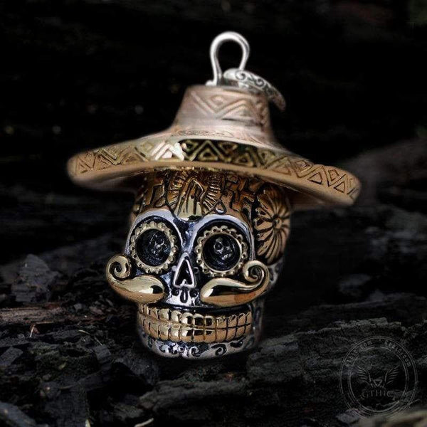Hat Magic Sterling Silver Sugar Skull Pendant