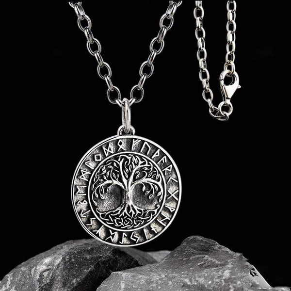 Tree Of Life Runes 925 Silver Viking Pendant