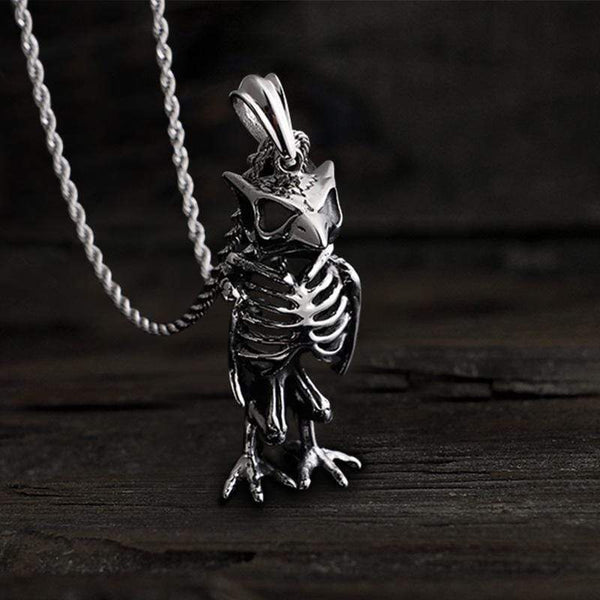 Owl Skull Stainless Steel Animal Pendant
